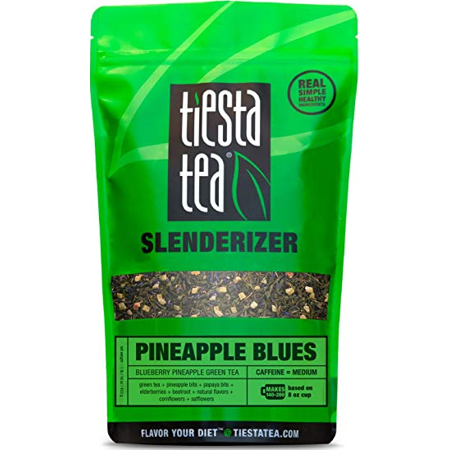 (Tiesta Tea Slenderizer, Pineapple Blues, Loose Leaf Green Tea Blend, Medium Caffeine, 2 Ounce Pouch)