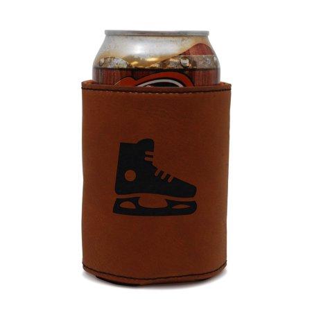 (Hockey Skate Leather Can Sleeve, Beer Sleeve, Beer Cooler, Beer Hugger)