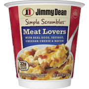 Jimmy Dean Simple Scrambles Meat Lovers Quick Breakfast Cup with Real Eggs, Sausage, Cheddar Cheese & Bacon, 5.35 oz.