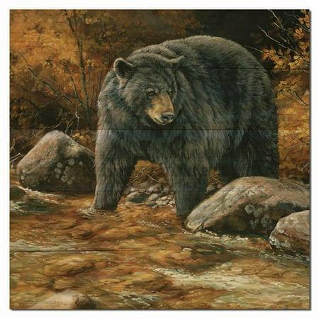 WGI-GALLERY Streamside Bear Painting Print Plaque