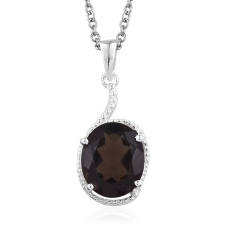 Smoky Quartz 925 Sterling Silver Pendant With Stainless Steel Magnetic Clasp Chain