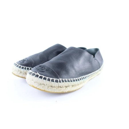 Black Leather Cap Toe Espadrilles 9cr0108 Flats