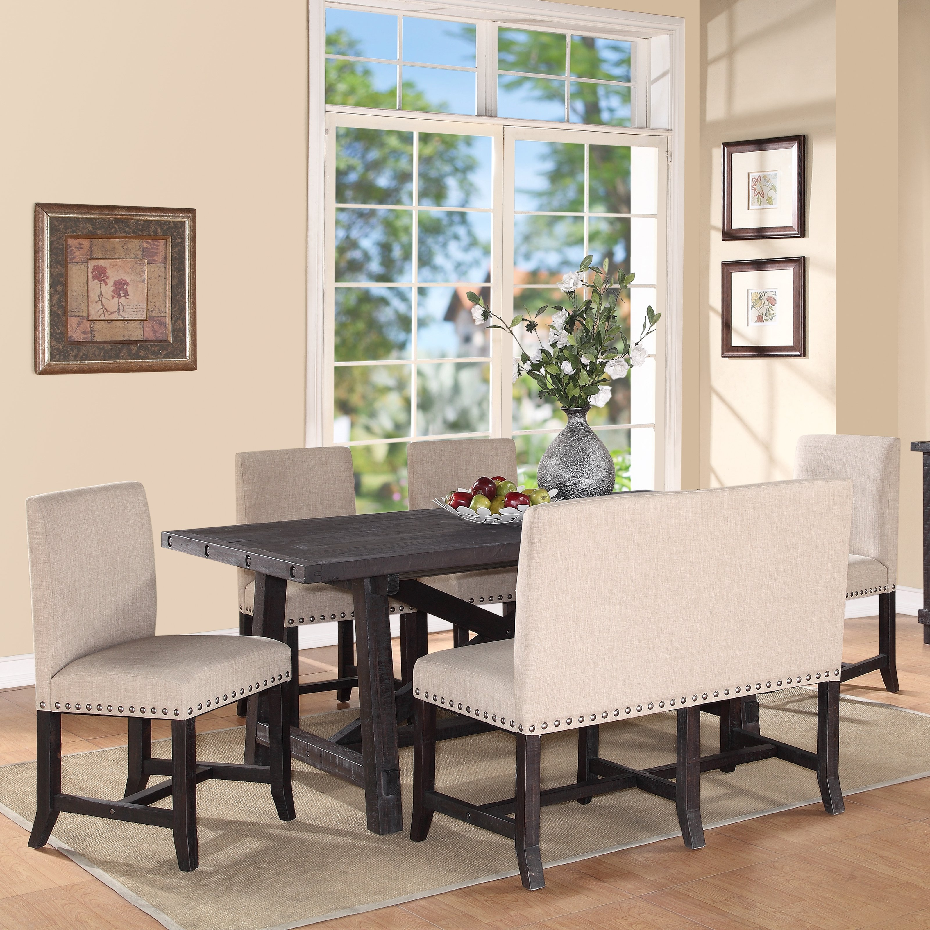 Superbe Modus Yosemite 6 Piece Rectangular Dining Table Set With Upholstered Chairs  And Settee