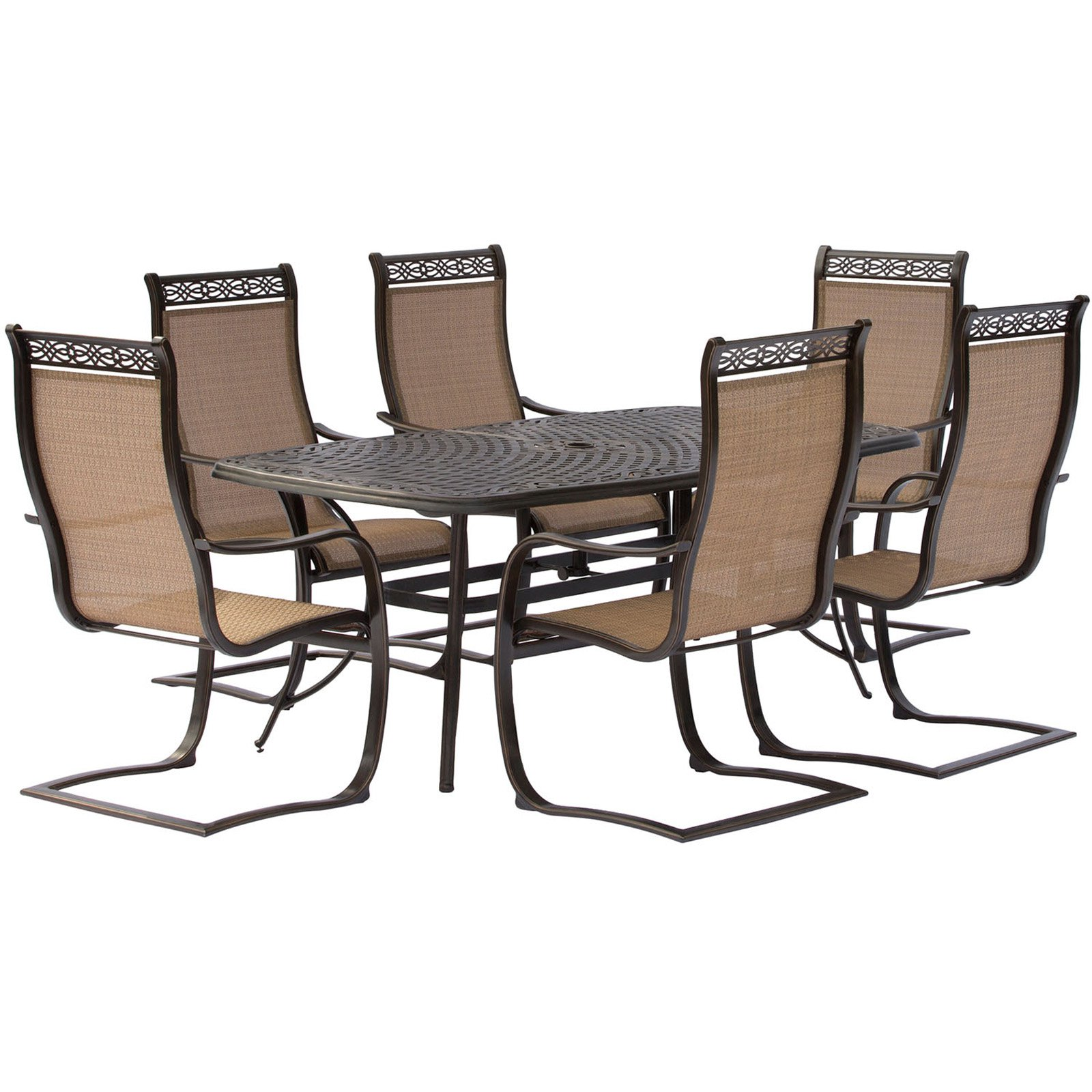 Hanover Manor 7-Piece Outdoor Dining Set with C-Spring Chairs