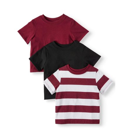 Garanimals Baby Boy Short Sleeve Striped & Solid T Shirts, 3pc Multipack Boys Hayden Stripe