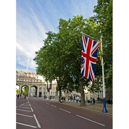 England, Central London. Union Flag Decorating the Mall Showing the Admiralty Arch in Distance Print Wall Art By Pamela