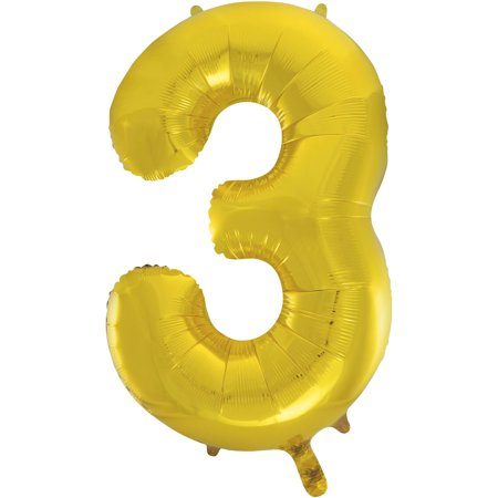Smiley Face Foil Balloon - Foil Big Number Balloon, 3, 34 in, Gold, 1ct