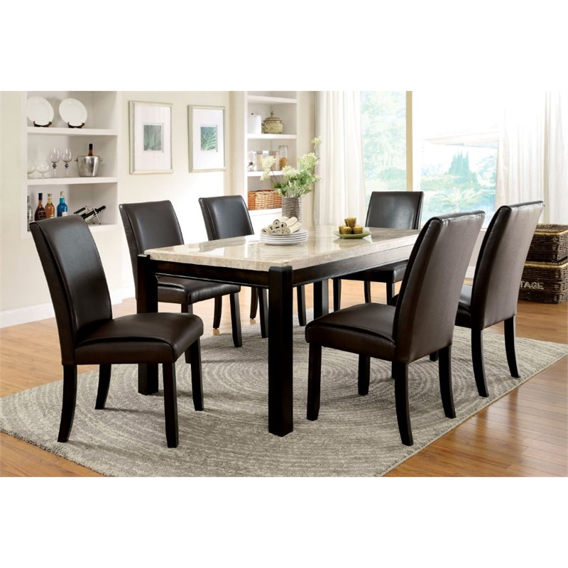 Bowery Hill Faux Marble Top Dining Table in Wood