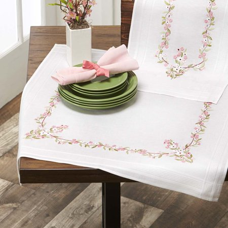 Herrschners® Garland in Pink Table Topper Stamped Embroidery Kit