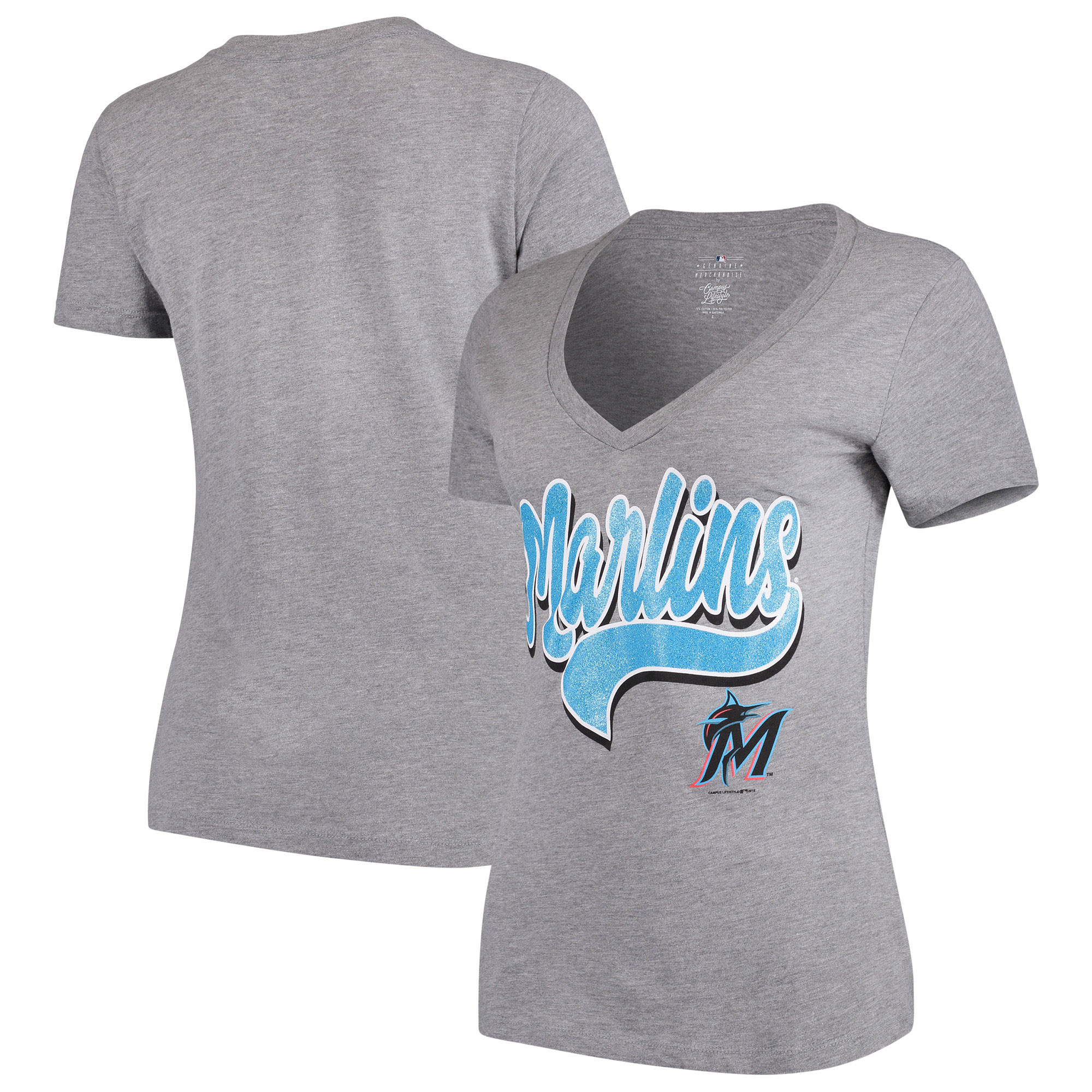 Women's 5th & Ocean by New Era Heathered Gray Miami Marlins Team V-Neck T-Shirt
