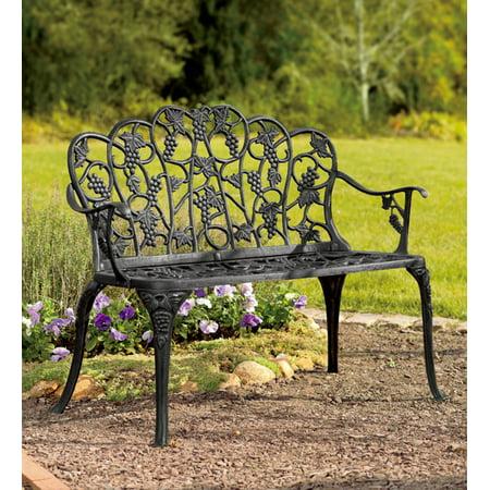 Aluminum Vintage Style Outdoor Garden Bench With Grape Vine Design