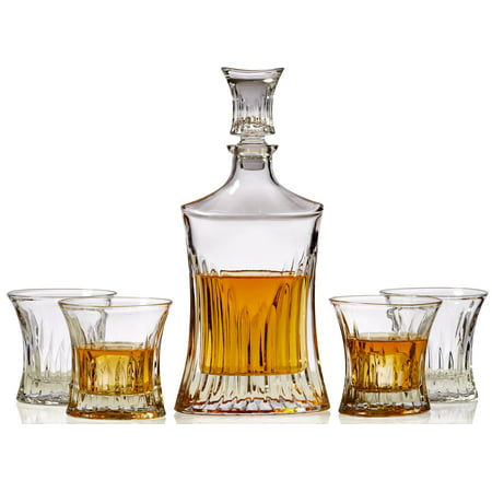 Whiskey Decanter Set of 5 – Luxury Whisky Decanter and Glass Stopper with 4 Old Fashioned Glasses - Premium Stylish Shape and Classic (Crystal Classic Decanter)