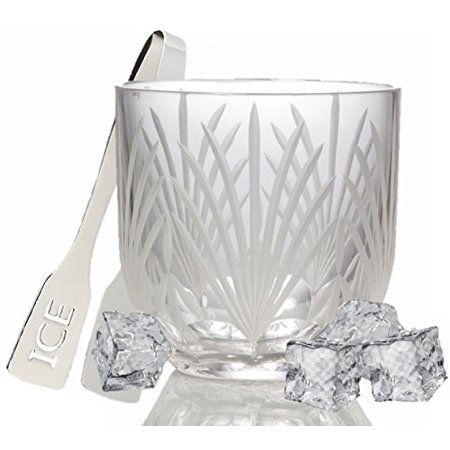 GAC Lead Crystal Glass Ice Bucket Frosted Cut Suitable for (Cut 24% Lead Crystal)