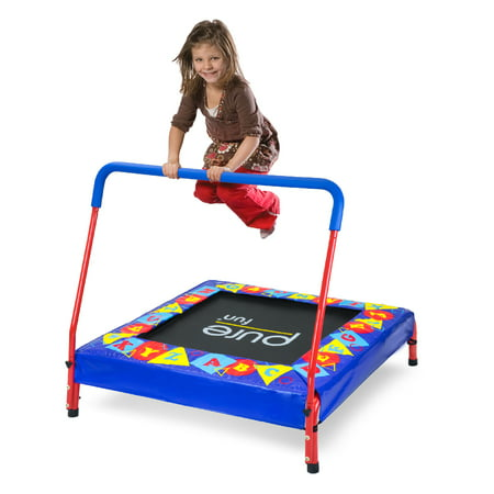 Pure Fun 36-Inch Trampoline for Kids, with Handrail, Blue Alphabet