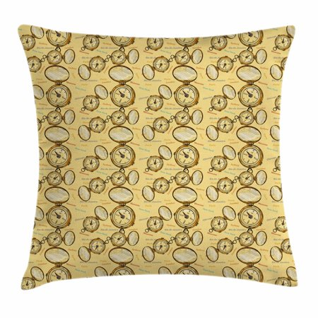 Compass Throw Pillow Cushion Cover, London Moscow Paris Sydney Traveling Around the World Theme Illustration, Decorative Square Accent Pillow Case, 16 X 16 Inches, Mustard Multicolor, by Ambesonne (Around The World Sweet 16 Theme)