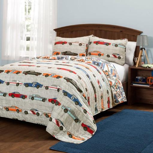 Red, Blue, Orange & Beige Boys Race Cars FULL   QUEEN Quilt & Shams (3 Piece Bedding Set) by Kids Bedding