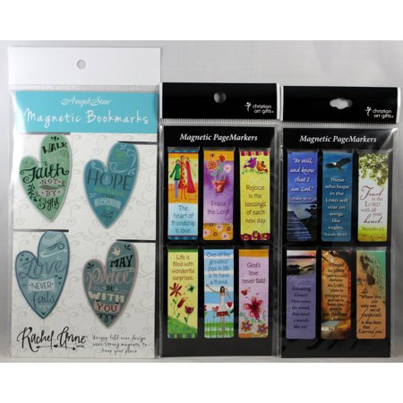 Magnetic Bookmarks 16 Set NEW Heart Friendship Be Still Bible Messages Fold-Over Engraved Heart Bookmark