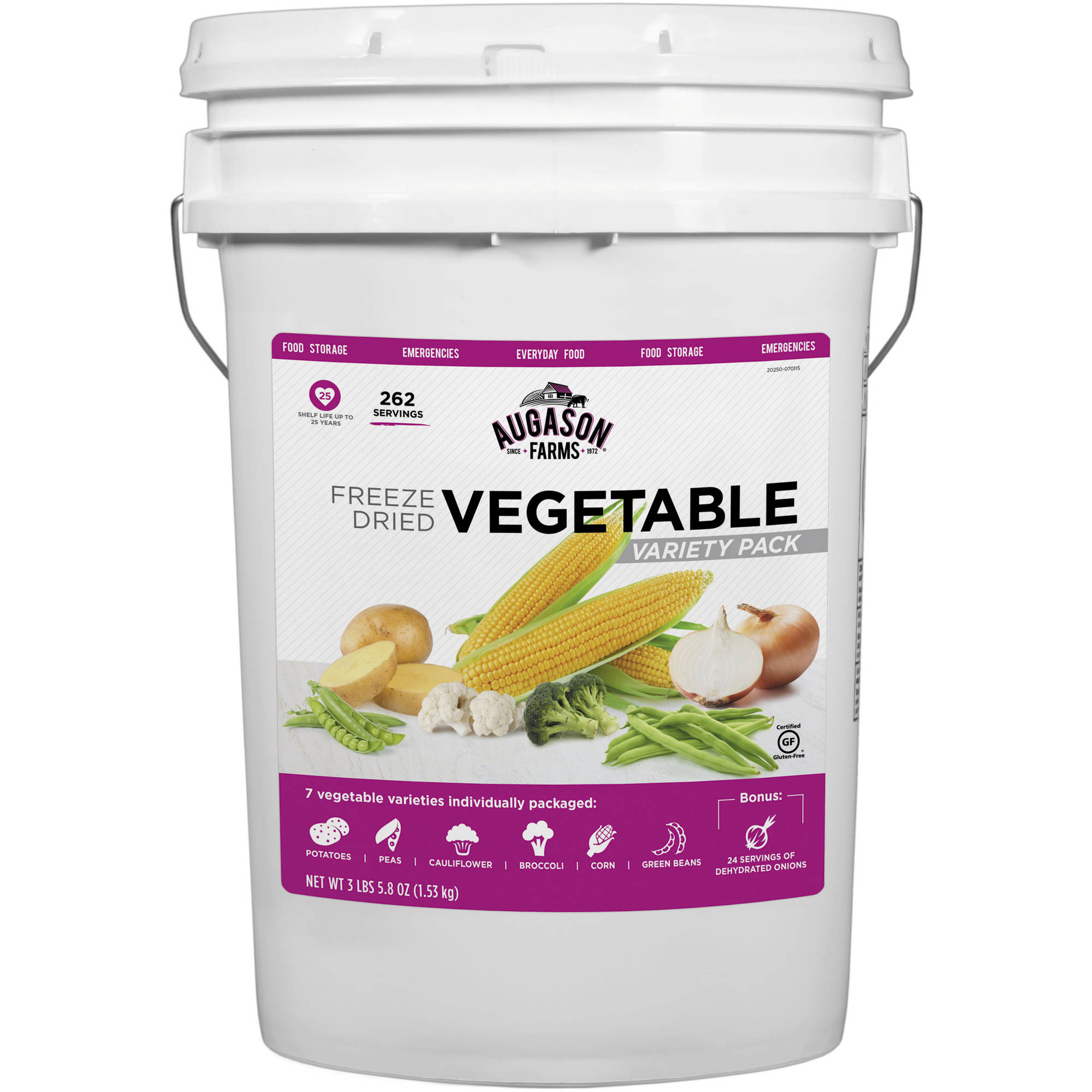 Augason Farms Freeze Dried Vegetable Variety Pack Emergency Food Supply Storage Pail, 3.363 lbs