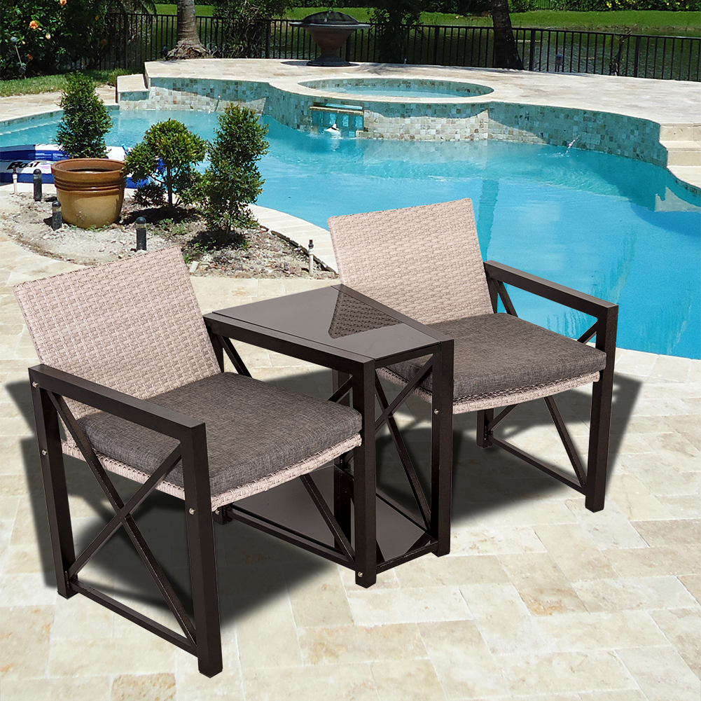 Sundale Outdoor 3 Piece Aluminum Wicker Chat Set - All We...
