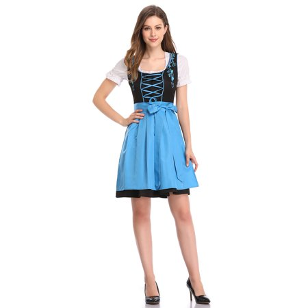 Oktober Fest Dress (Women's 3pcs Bavarian Mini Dirndl Dress for)