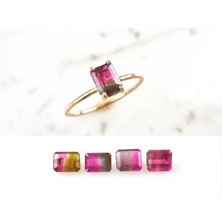 Solitaire 2 Carat Emerald Cut Watermelon Tourmaline Engagement Ring in 10k Yellow - Emerald Cut Emerald Solitaire
