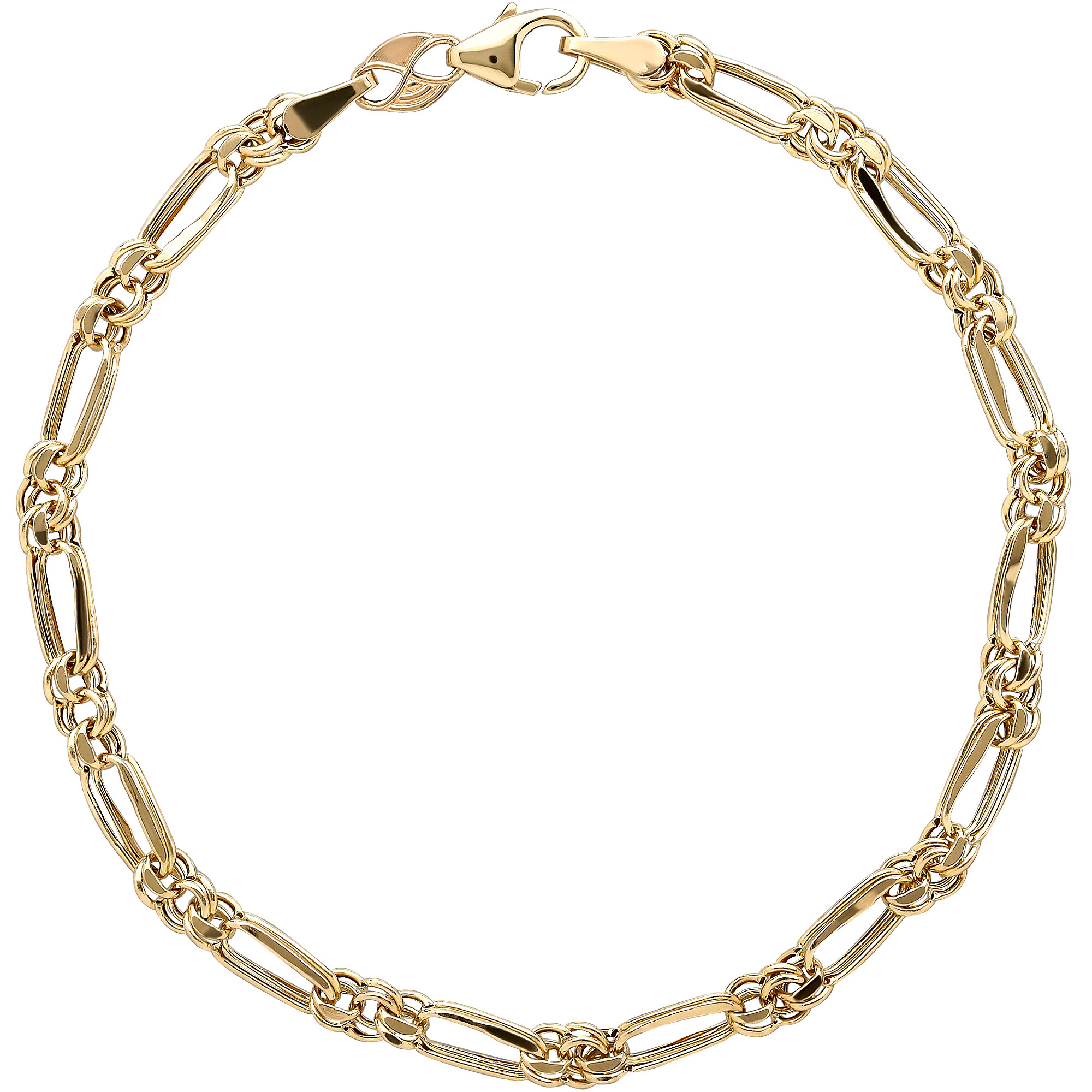 Simply Gold 10kt Yellow Gold Alternating Round and Oval Links Bracelet