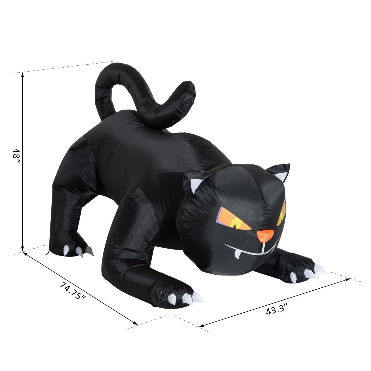 HOM 6' Long Outdoor Lighted Airblown Inflatable Halloween Lawn Decoration Crouching Black Cat