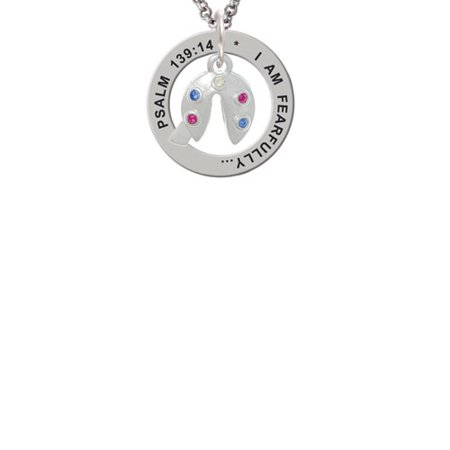 Multicolored Crystal Fortune Cookie Psalm 139:14 Affirmation Ring Necklace - Fortune Cookie Necklace