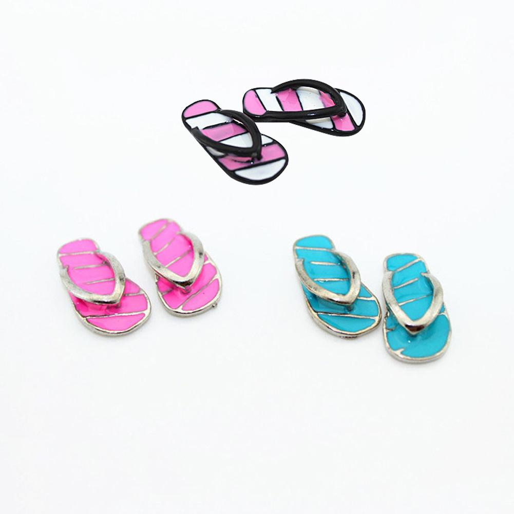 Directer 1 Pair Mini Cute Stripe Flip Flops Diy Miniature Toy For