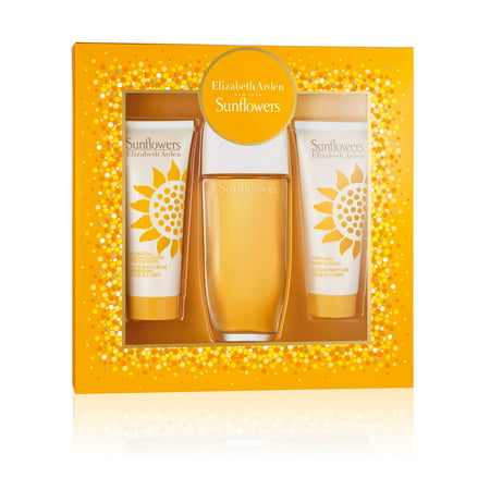 ($50 Value) Sunflower By Elizabeth Arden Perfume Gift Set for Women- Edt Spray 3.3 Oz+Body Lotion 3.3 Oz+Body Cream/Cleanser 3.3 Oz ()