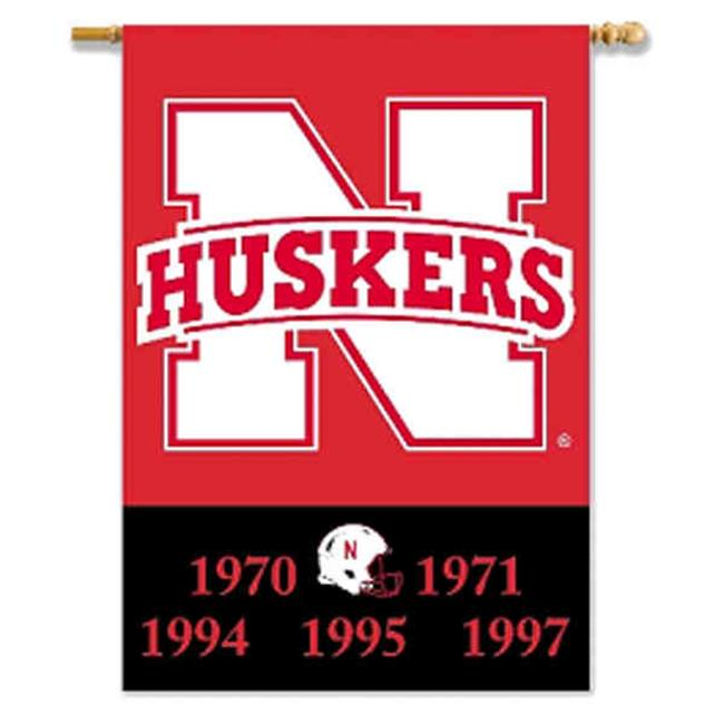 BSI PRODUCTS 96405 Nebraska Cornhuskers 2-Sided 28 inch X 40 inch Banner with  Pole Sleeve
