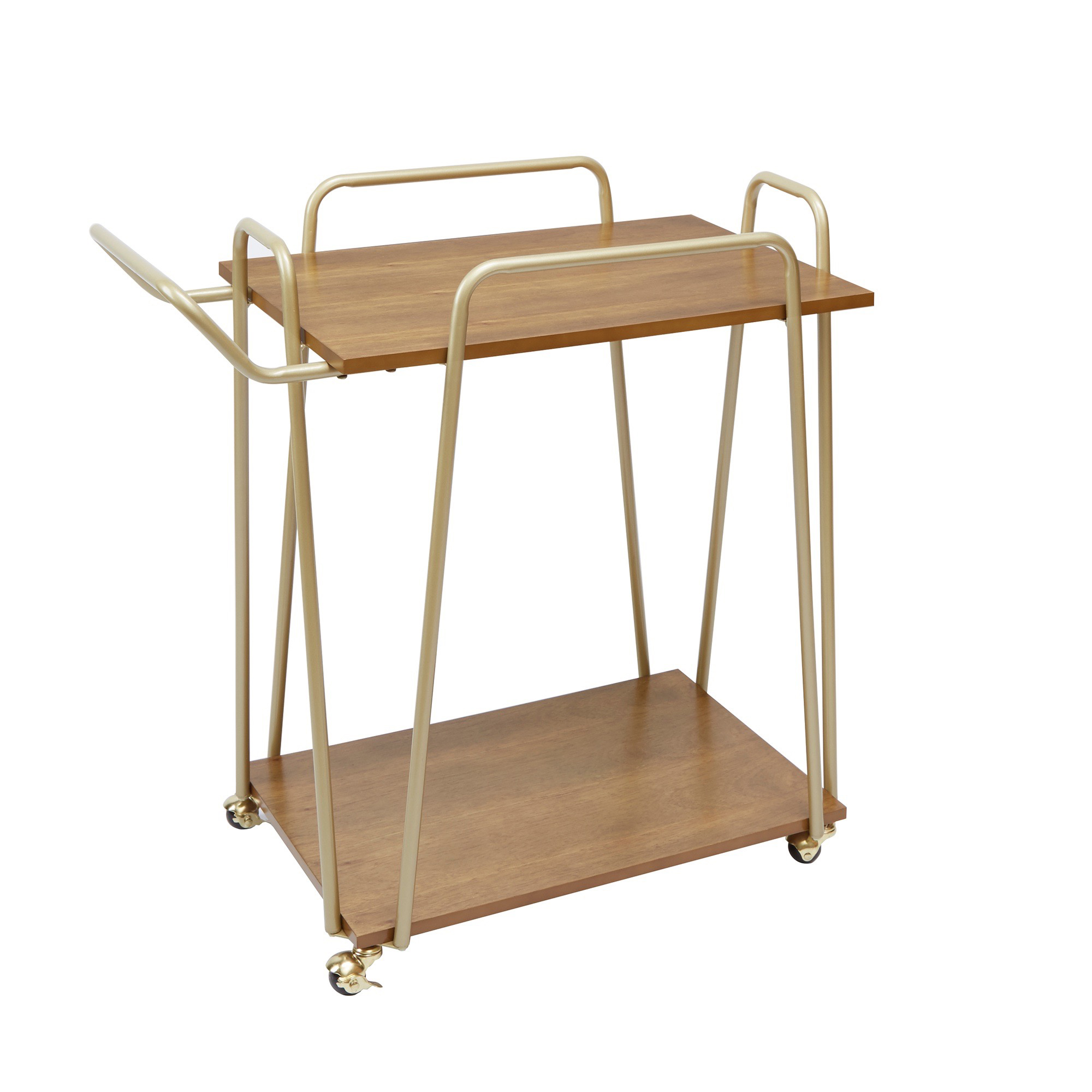 Better Homes & Gardens Giana Metal & Wood Modern Bar Cart, Gold Finish