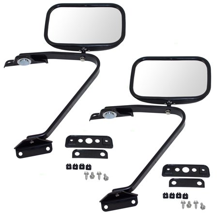 Pair Set Manual Side View Mirrors 5x8 Swing Lock with Plastic Housing Replacement for Ford Pickup Truck SUV E5TZ 17696 A