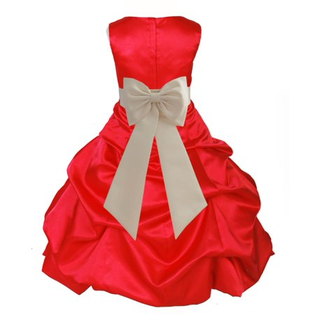 Christmas Clothing (Ekidsbridal Red Satin Bubble Pickup Christmas Party Bridesmaid Recital Easter Holiday Wedding Pageant Communion Princess Birthday Clothing Baptism 808 Flower Girl)