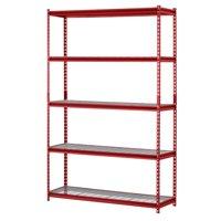 "Muscle Rack 48""W x 24""D x 72""H 5-Shelf Steel Wire Shelving Unit, 2500 lb Capacity, Red"