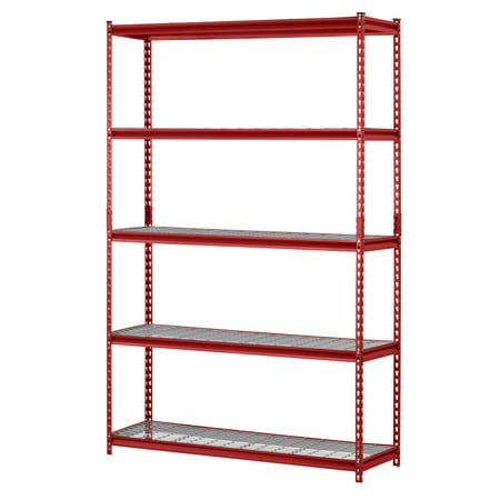 "Muscle Rack 48"" Width x 72"" Height x 24"" Length, UR482472WD5-R 5-Shelf Steel Shelving Unit, Red"