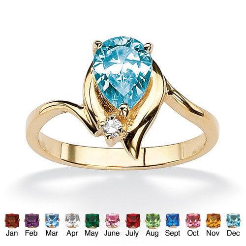 Palm Beach Jewelry Brass Pear-Shaped Garnet Birthstone Ring