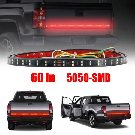 - 60 Inch Truck Tailgate Light Bar Double Row LED Flexible Strip Running Turn Signal Brake Reverse Tail light for Pickup Trailer SUV RV VAN Car Towing Vehicle, Red/White