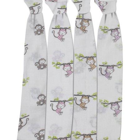 Bacati   Happy Monkeys 100  Cotton Muslin Swaddling Blankets Set Of 4  Pink Purple Gray