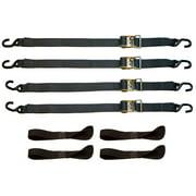 8 Piece Heavy Duty Motorcycle Ratchet Tie-Down strap set
