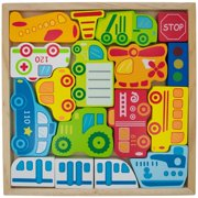 BestPysanky Cars, Ship, Plane, Helicopter and Sign Learning Wooden Blocks Puzzle