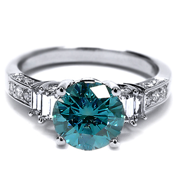2.17 Ct Round Blue SI1/SI2 Diamond 18K White Gold Engagement Ring