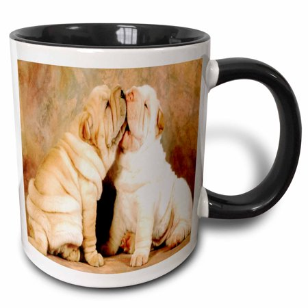 3dRose Best Friends Shar Pei Puppies - Two Tone Black Mug,