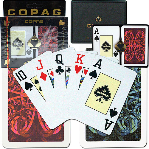 Trademark Poker Copag Bridge Size Jumbo Index, Gold Line Aldrava Setup
