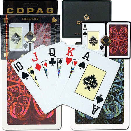 Trademark Poker Copag Bridge Size Jumbo Index  Gold Line Aldrava Setup
