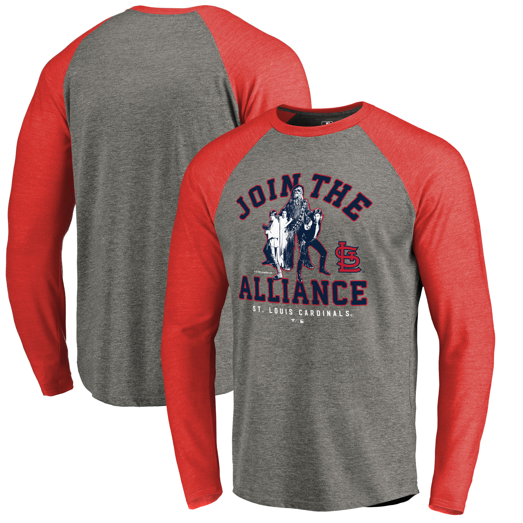 St. Louis Cardinals Fanatics Branded MLB Star Wars Join The Alliance Raglan Long Sleeve T-Shirt - Heather Gray