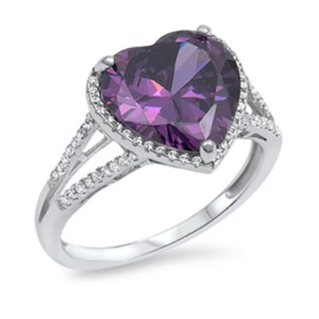 Sterling Silver Women's Simulated Amethyst Heart Ring ( Sizes 6 7 8 9 10 ) Fashion 925 Band 14mm Rings (Size (14 Mm Ring)