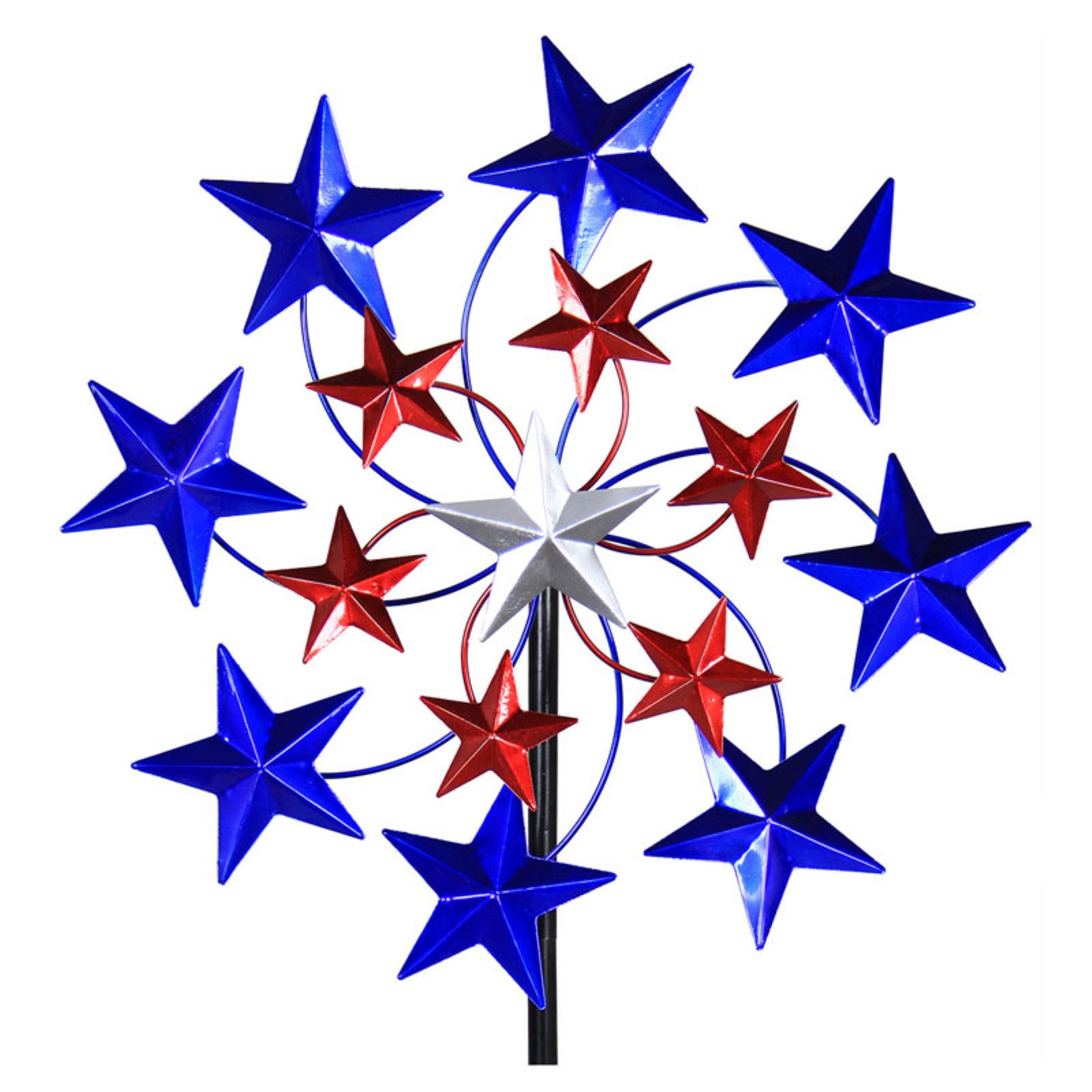 Exhart Star Spangled Spinner Garden Stake