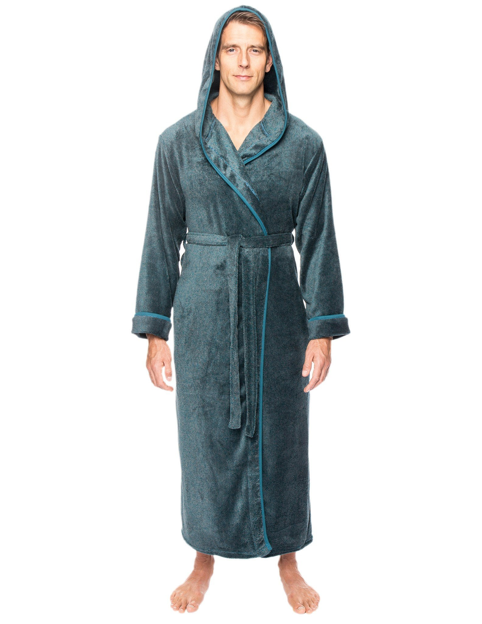 Noble Mount Men's Premium Coral Fleece Long Hooded Plush Spa/Bath Robe