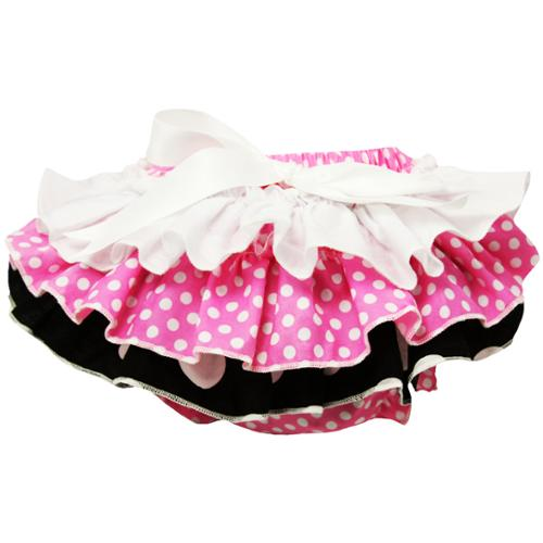 Baby Girls Black and Pink Polka Dot Cotton Bloomers 0-24 Months